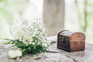 Detailfoto von einem Brautstrauß